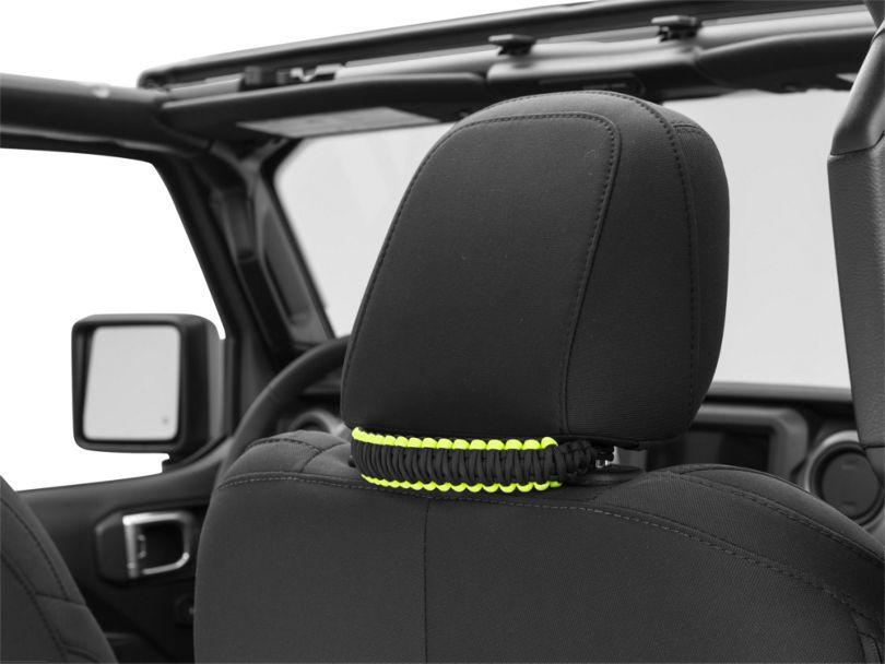 Alterum Headrest Paracord Grab Handles - Black and Neon Green (07-20 Jeep Wrangler JK & JL)
