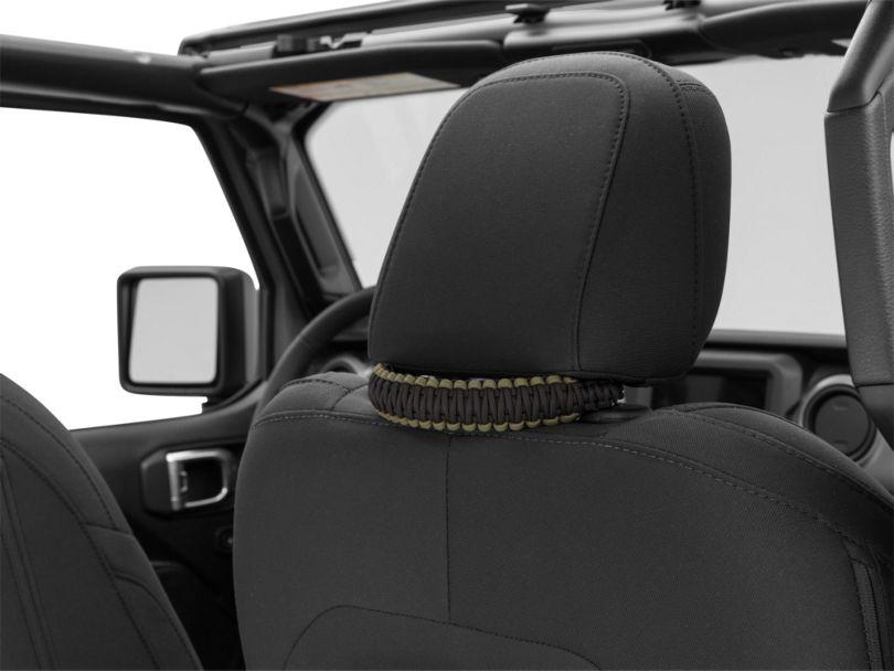 Alterum Headrest Paracord Grab Handles - Black and OD Green (07-20 Jeep Wrangler JK & JL)