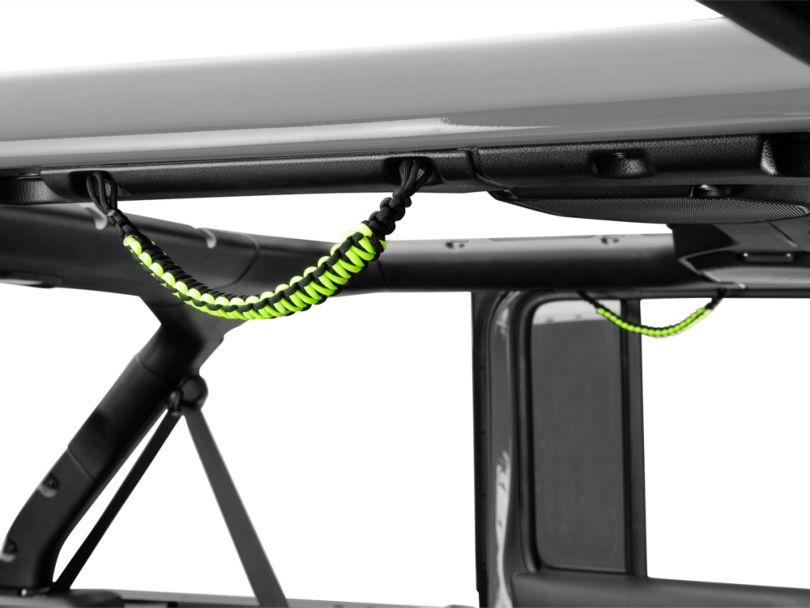 Alterum Rear Soundbar Paracord Grab Handles - Black and Neon Green (07-18 Jeep Wrangler JK 4 Door; 18-20 Jeep Wrangler JL 4 Door)