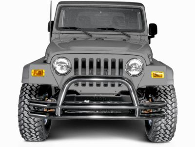 Add Rugged Ridge Tubular Front Bumper - Gloss Black (87-06 Wrangler YJ & TJ)