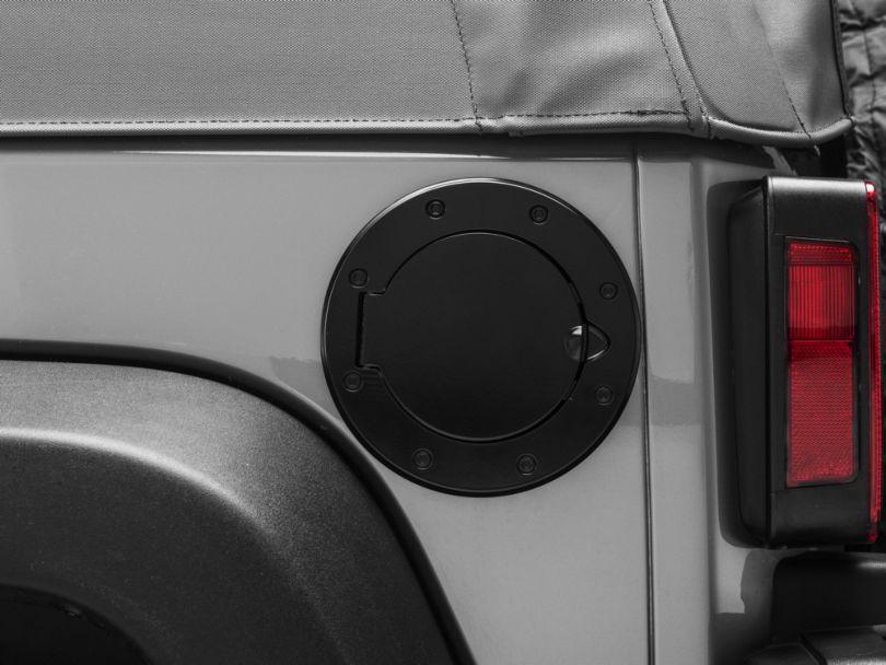 Rugged Ridge Non-Locking Aluminum Fuel Door - Black (07-18 Jeep Wrangler JK)