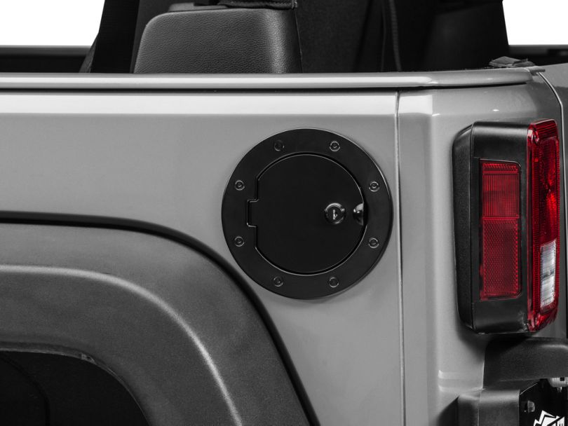 Rugged Ridge Locking Fuel Door Cover - Black (07-18 Jeep Wrangler JK)