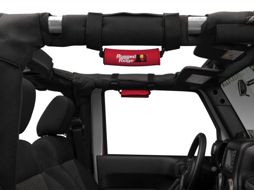 Rugged Ridge Neoprene Grab Handles; Red (87-20 Jeep Wrangler YJ, TJ, JK & JL)