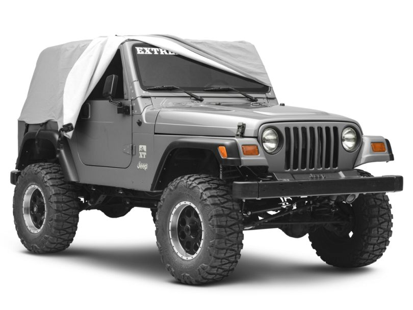 Smittybilt Water Resistant Cab Cover with Door Flaps; Gray (92-06 Jeep Wrangler YJ & TJ)