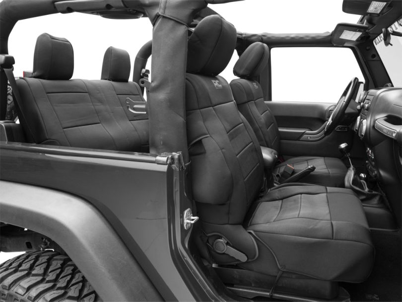 Rough Country Neoprene Seat Covers - Black (07-18 Jeep Wrangler JK 2 Door)