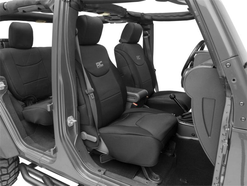 Rough Country Neoprene Seat Covers - Black (08-18 Jeep Wrangler JK 4 Door)