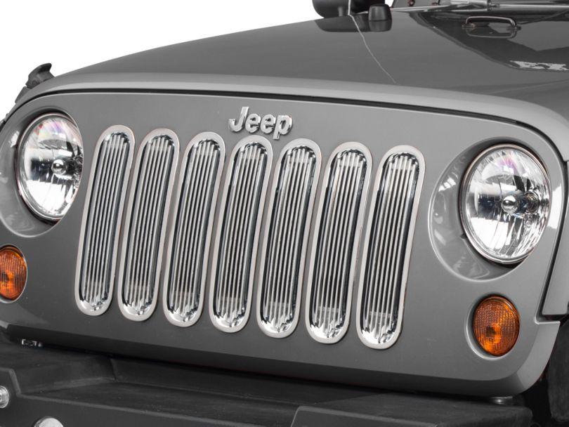 Rugged Ridge Billet Style Grille Inserts; Polished (07-18 Jeep Wrangler JK)