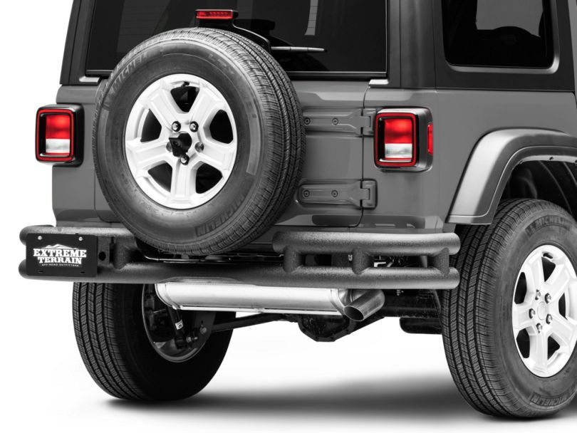 RedRock 4x4 Tubular Rear Bumper w/ Wrap Around - Textured Black (18-20 Jeep Wrangler JL)