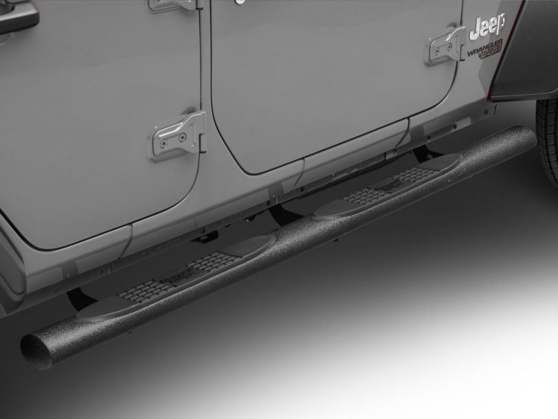 Rugged Ridge 4-Inch Oval Side Step Bars - Black (18-20 Jeep Wrangler JL 4 Door)