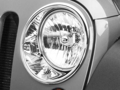 Add Rugged Ridge Headlight Trim - Chrome (07-17 Wrangler JK)