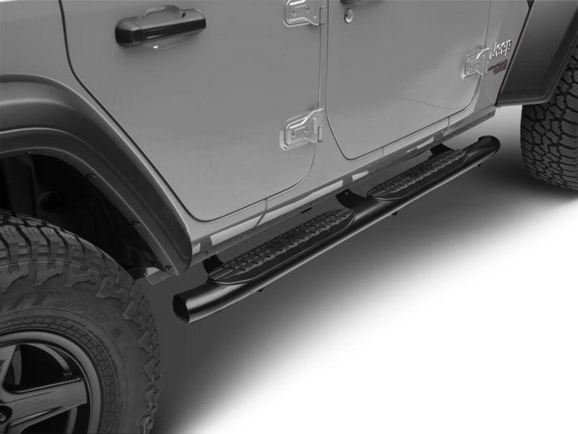 4 in. Pro Traxx Oval Side Step Bars - Black (18-20 Jeep Wrangler JL 4 Door)