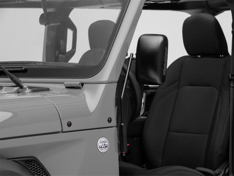 Steinjager Door Hinge Mounted Mirrors; Black (18-20 Jeep Wrangler JL)