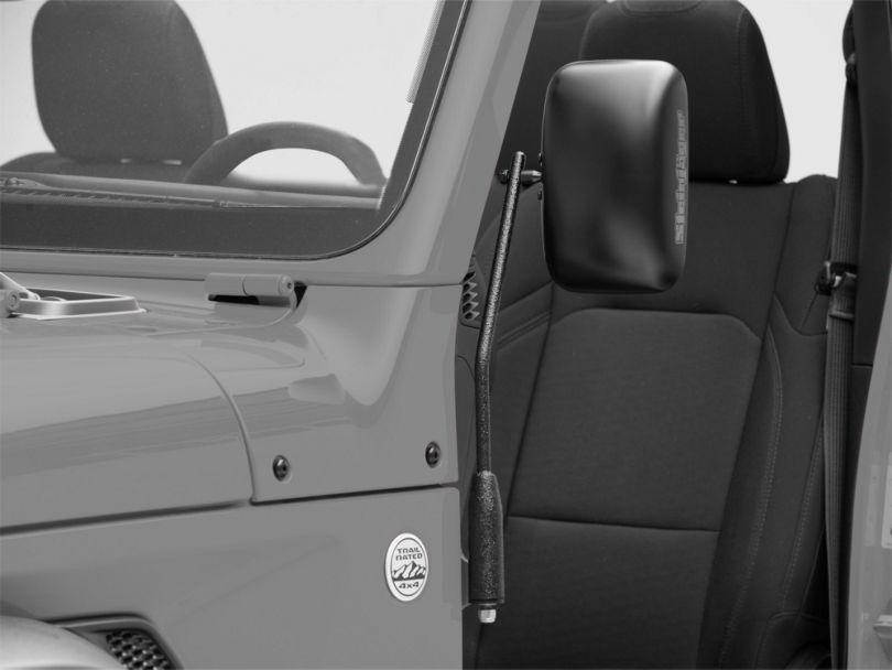 Steinjager Door Hinge Mounted Mirrors; Textured Black (18-20 Jeep Wrangler JL)