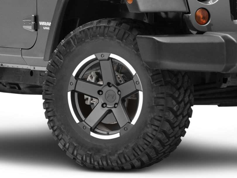 Rovos Danakil Charcoal with Machined Lip Wheel; 17x9 (07-18 Jeep Wrangler JK)