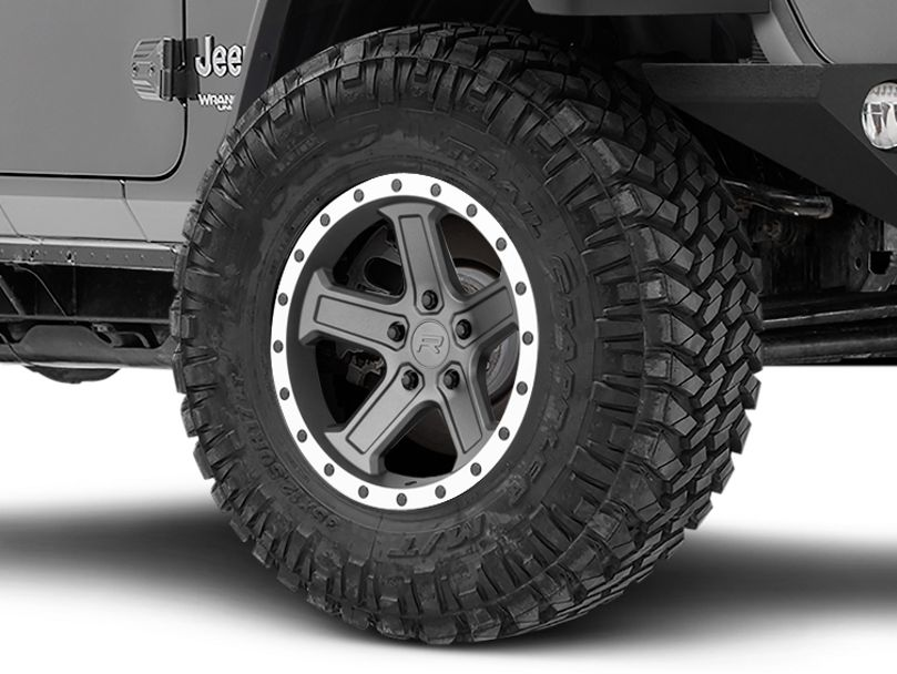 Rovos Tenere Charcoal with Machined Lip Wheel; 17x9 (18-20 Jeep Wrangler JL)