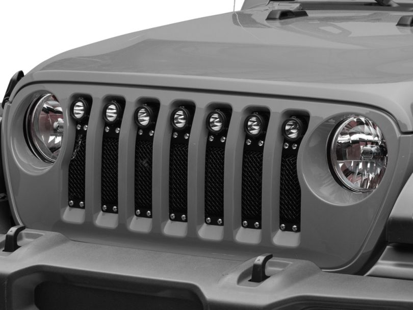 T-REX Torch Series Grille Insert with Chrome Studs and LED Lights; Black (18-20 3.6L Jeep Wrangler JL)