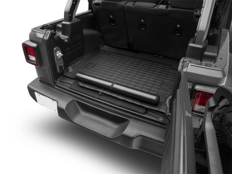 Weathertech DigitalFit Cargo Liner with Bumper Protector; Black (18-20 Jeep Wrangler JL 4 Door w/ Subwoofer & Flat Load Floor)
