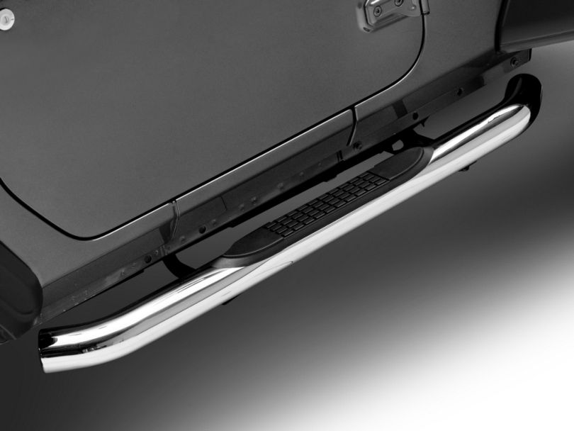 RedRock 4x4 3 in. Round Curved Side Step Bars - Stainless Steel (18-20 Jeep Wrangler JL 2 Door)