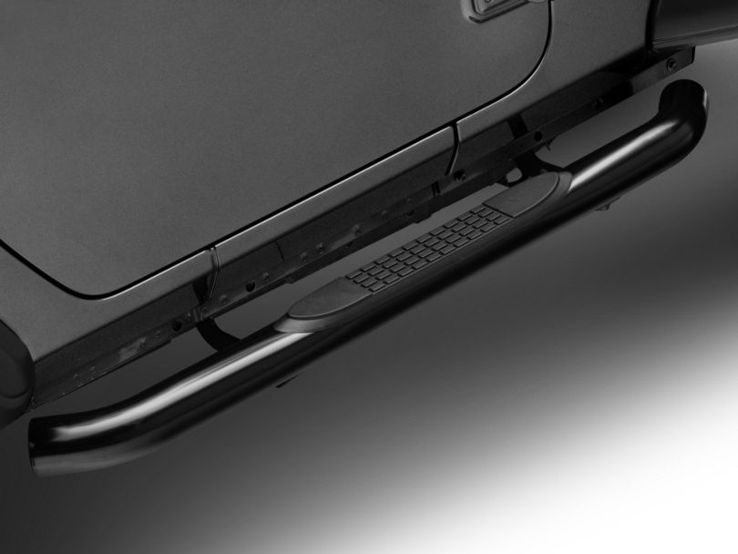 RedRock 4x4 3 in. Round Curved Side Step Bars - Gloss Black (18-20 Jeep Wrangler JL 2 Door)