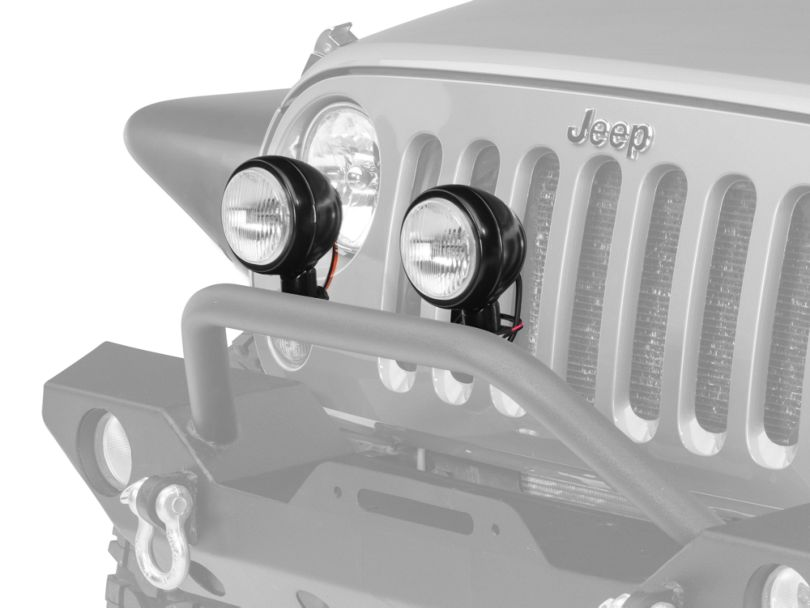 Rugged Ridge 5 in. Round HID Off-Road Fog Lights w/ Black Steel Housings - Pair (87-19 Jeep Wrangler YJ, TJ, JK & JL)