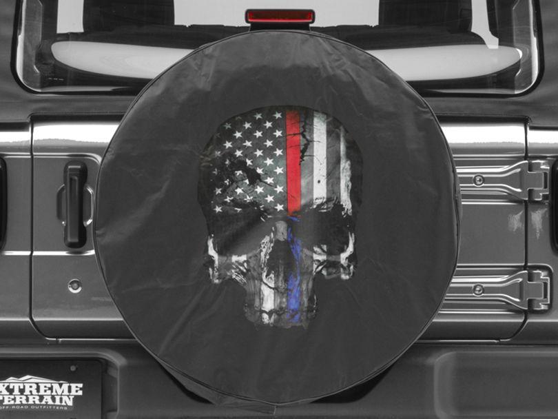 Police & Firefighters Blue & Red Line Skull Spare Tire Cover (87-20 Jeep Wrangler YJ, TJ, JK & JL)
