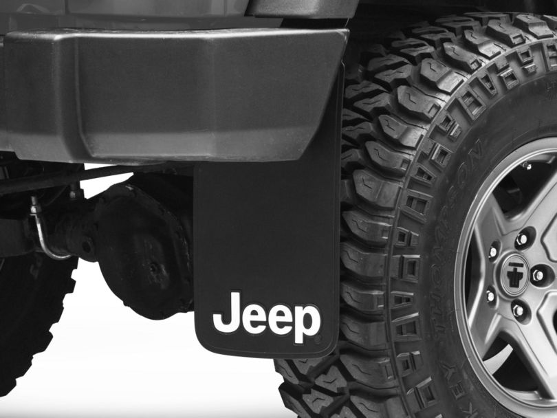 Mud Guards with Jeep Logo; Front or Rear (87-20 Jeep Wrangler YJ, TJ, JK & JL)