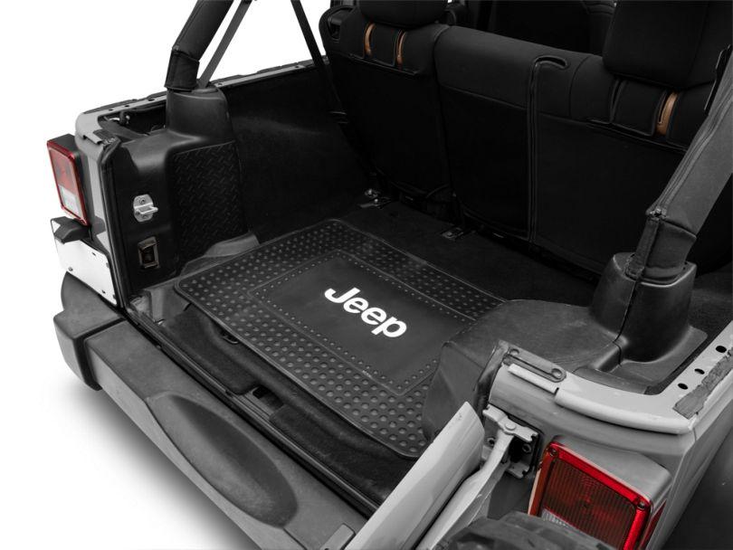 Cargo Floor Mat with Jeep Logo; Black (87-20 Jeep Wrangler YJ, TJ, JK & JL)