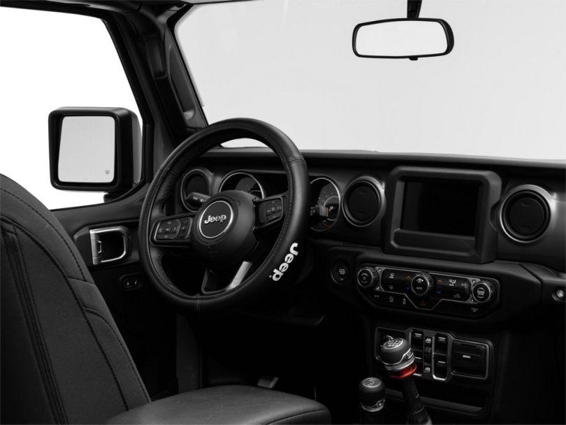 Speed Grip Steering Wheel Cover with Jeep Logo; Black (87-20 Jeep Wrangler YJ, TJ, JK & JL)