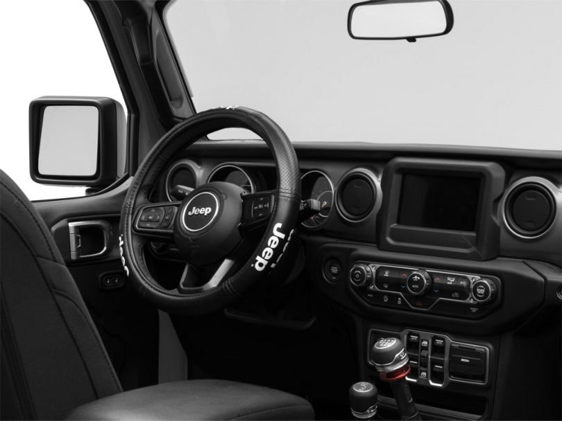 Elite Series Speed Grip Steering Wheel Cover with Jeep Logo; Black (87-20 Jeep Wrangler YJ, TJ, JK & JL)