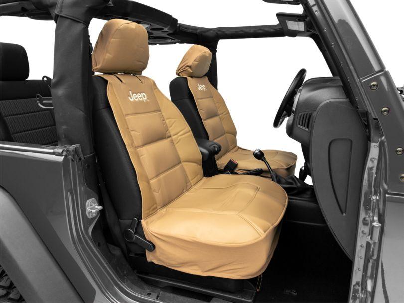 Sideless Seat Cover with Jeep Logo; Tan (87-20 Jeep Wrangler YJ, TJ, JK & JL)