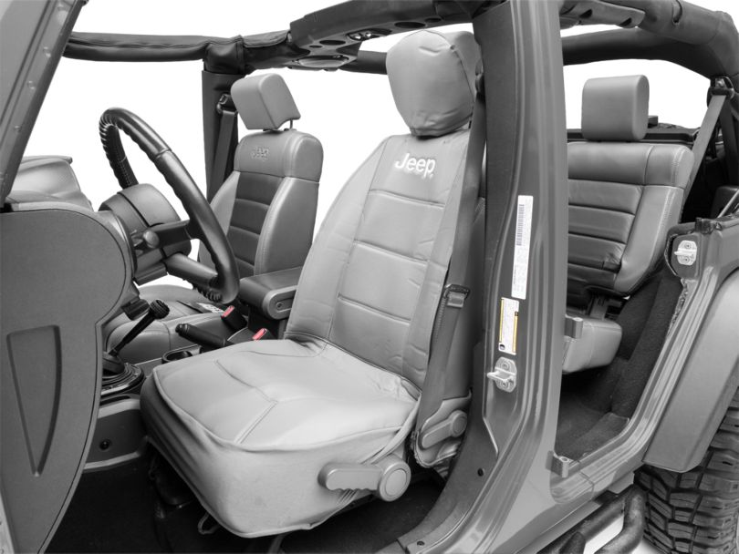 Alterum Jeep Logo Sideless Seat Cover - Gray (87-20 Jeep Wrangler YJ, TJ, JK & JL)