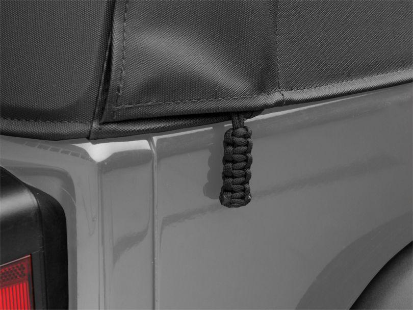 Paracord Zipper Pulls for Soft Tops - Black (87-18 Jeep Wrangler YJ, TJ, JK & JL)