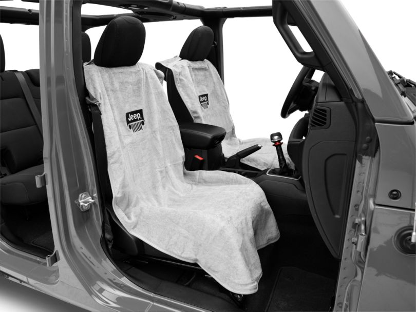 Seat Armour Seat Towel with Jeep Grille; Gray (87-20 Jeep Wrangler YJ, TJ, JK & JL)