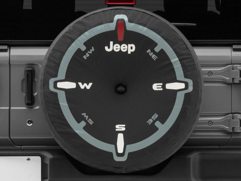 Mopar 32 in. Compass Design Spare Tire Cover - Black (18-20 Jeep Wrangler JL)