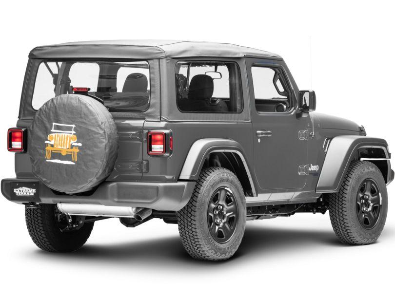 Mopar 32 in. Cartooned Jeep Wrangler Spare Tire Cover - Black Denim (87-20 Jeep Wrangler YJ, TJ, JK & JL)