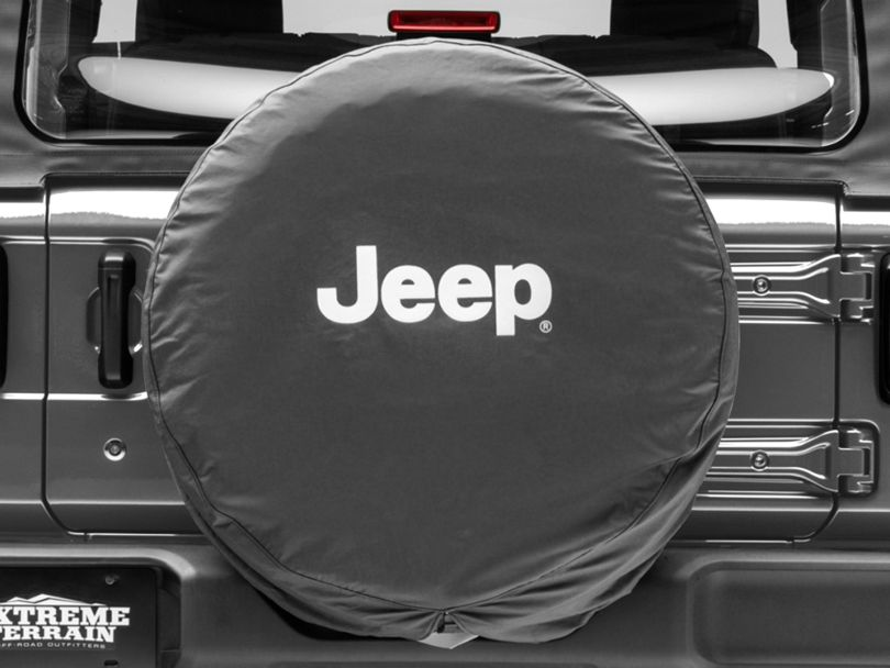 Mopar Jeep Logo Spare Tire Cover; Black and White (87-20 Jeep Wrangler YJ, TJ, JK & JL)