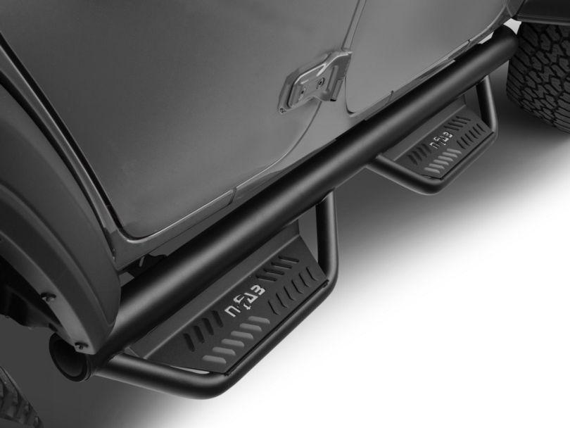 N-Fab Cab Length Podium Nerf Side Step Bars - Textured Black (18-20 Jeep Wrangler JL 4 Door)