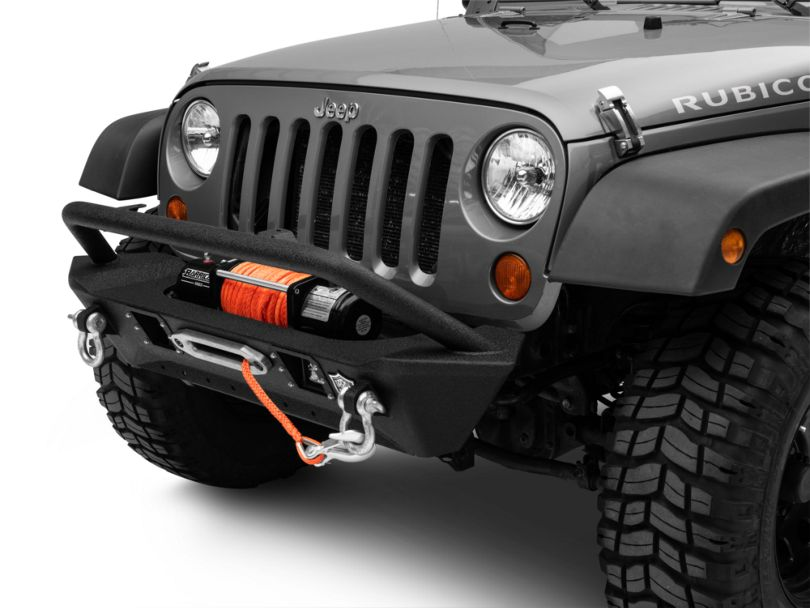 Deegan 38 Stubby Front Bumper with KC HiLiTES LED Fog Lights (07-18 Jeep Wrangler JK)
