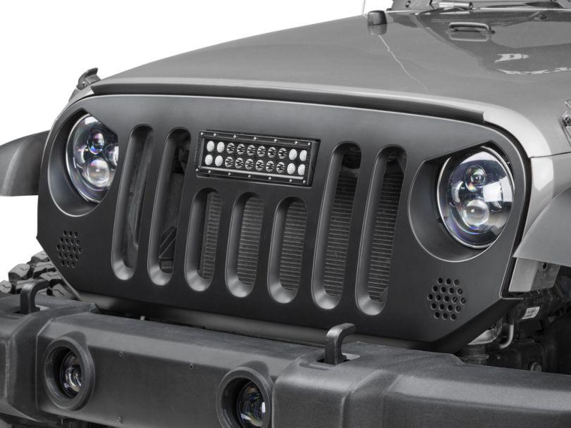 Deegan 38 Grille with 10-Inch LED Light Bar (07-18 Jeep Wrangler JK)