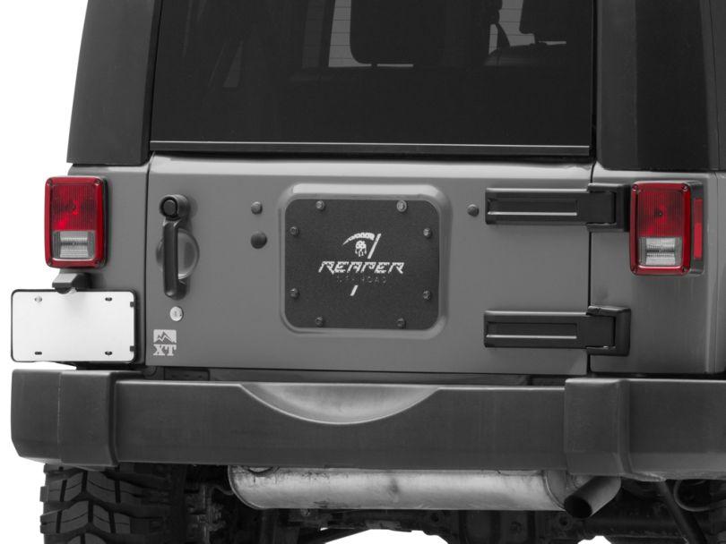 Reaper Off-Road Tramp Stamp Spare Tire Delete Plate - Textured Black (07-18 Jeep Wrangler JK)