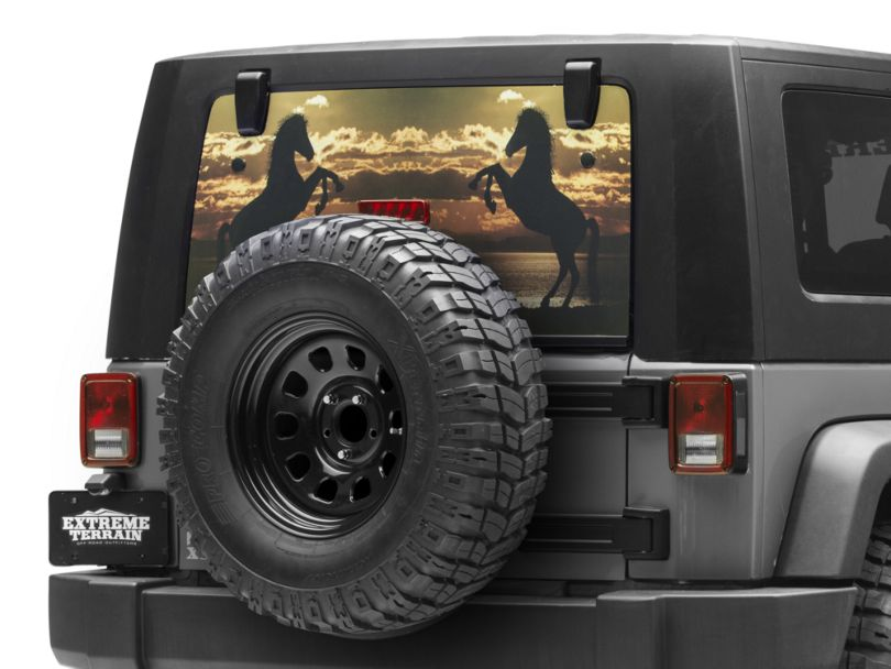 Perforated Stallion Rear Window Decal (87-20 Jeep Wrangler YJ, TJ, JK & JL)