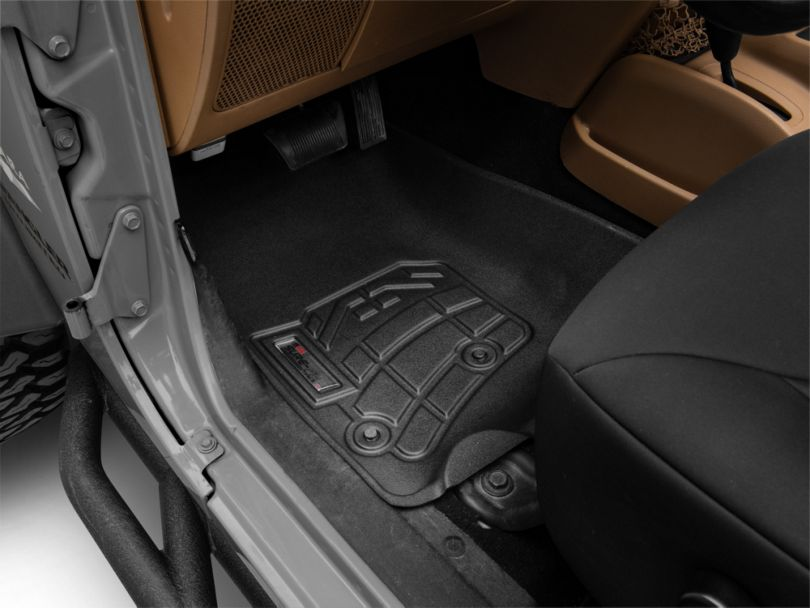 RedRock 4x4 Sure-Fit Front Floor Liners - Black (14-18 Jeep Wrangler JK)