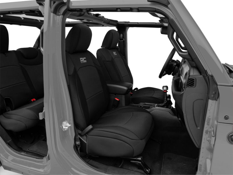 Rough Country Neoprene Front & Rear Seat Covers - Black (18-19 Jeep Wrangler JL 4 Door)