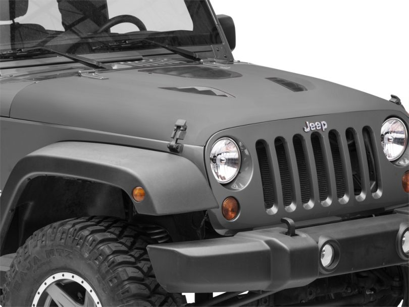 Rough Country Vented Performance Hood; Unpainted (07-18 Jeep Wrangler JK)