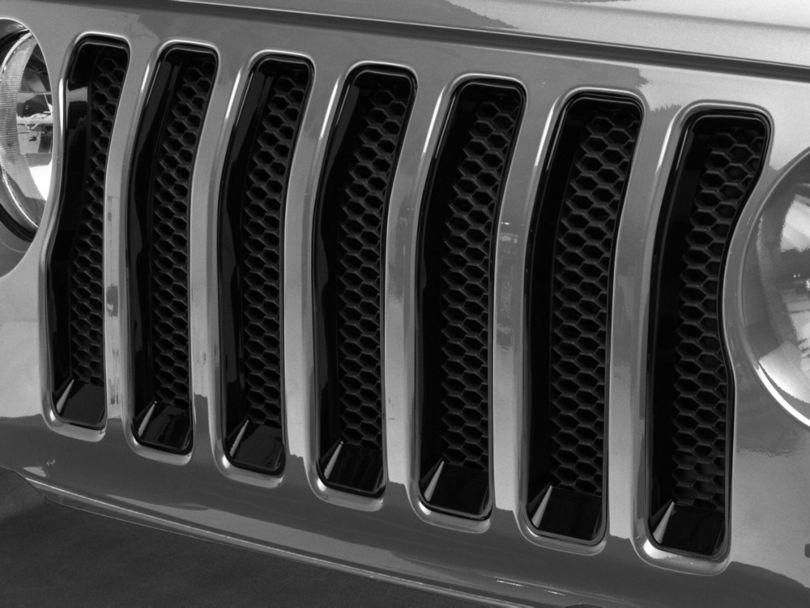 Front Grille Inserts; Black (18-20 Jeep Wrangler JL Sport)