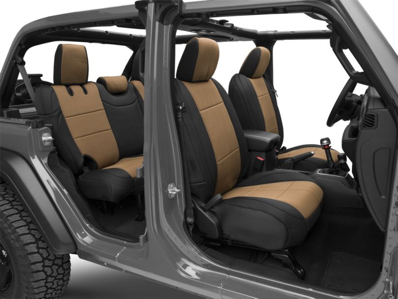Smittybilt Neoprene Front and Rear Seat Covers; Black/Tan (18-20 Jeep Wrangler JL 4 Door, Excluding Rubicon)