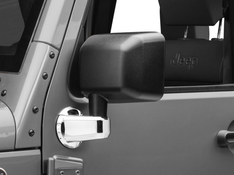Rugged Ridge Door Mirror Arm Covers - Chrome (07-18 Jeep Wrangler JK)