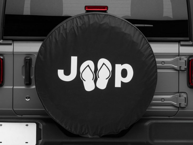 Jeep Sandals Spare Tire Cover; Black (87-20 Jeep Wrangler YJ, TJ, JK & JL)