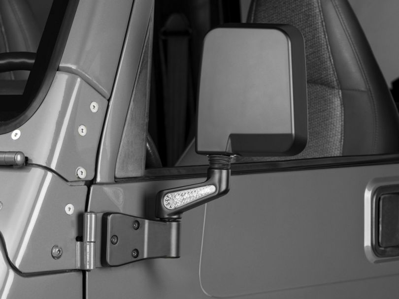 Rugged Ridge Heated Door Mirrors with LED Turn Signals; Black (87-02 Jeep Wrangler YJ & TJ)