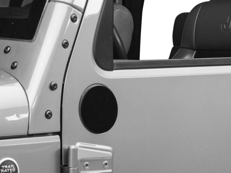 Rugged Ridge Mirror Relocation Filler Plates; Black (07-18 Jeep Wrangler JK)